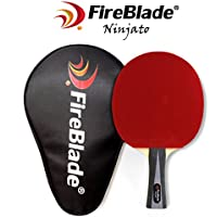 FireBlade 'Ninjato' - Carbon Table Tennis Bat with Case - 5-ply wood & 2-ply carbon - Ping Pong Racket Paddle - ITTF Rubber- Comfortable Handle - Includes Bat Case