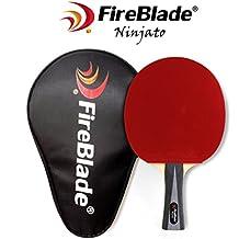 Fireblade Ninjato - Pala de tenis de mesa de carbono con funda - 5 capas madera y 2 capas de carbono - Raqueta de Ping Pong - Gomas ITTF - Cómodo mango ...