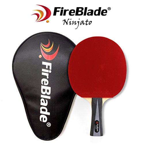 FireBlade Ninjato - Carbon Tischtennisschläger mit Fall - 5-Ply Holz & 2 lagig - Ping Pong Schläger Paddel - ITTF gummi- bequemer Griff - inkl. Frei Fall