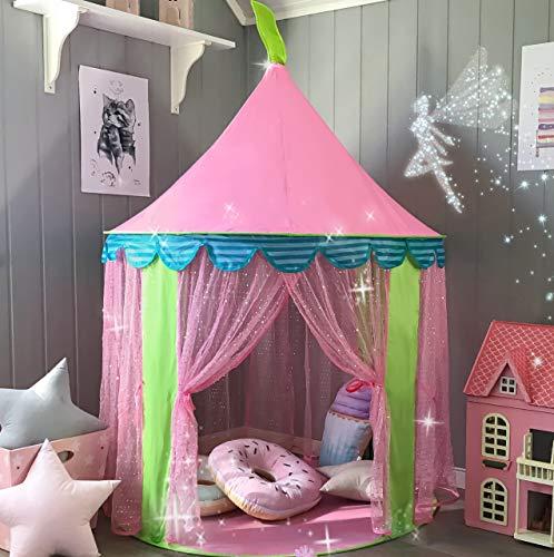 Kinderzelt Prinzessin Spielzelt für Mädchen - Glitzer Castle Kinderzimmer mit Fairy Stick und Tragetasche - Kinderhaus- Spielzeug für Innen- und Außenspiele 104cm x 140cm (DxH)