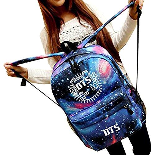 Partiss Unisex BTS Print Bag Schultasche Rucksack,One Size,Blue