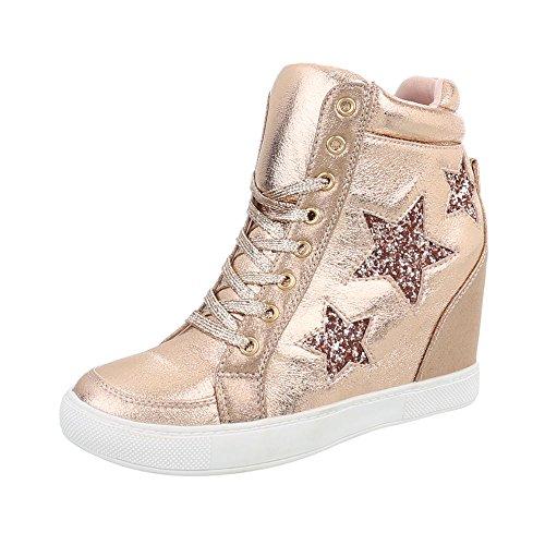 Ital-Design Sneakers High Damen-Schuhe Sneakers High Keilabsatz/Wedge Keilabsatz Schnürsenkel Freizeitschuhe Gold, Gr 38, Ll-72-