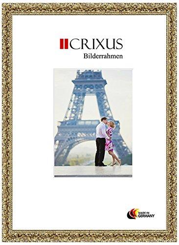 Crixus38 Echtholz Bilderrahmen für 50 x 71 cm Bilder, Farbe: Gold Relief, Massivholz Rahmen in...
