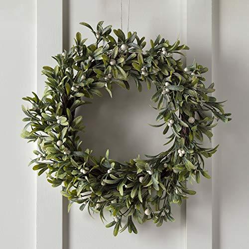 Lights4fun Weihnachtskranz Mistelzweige und weiße Beeren 50cm