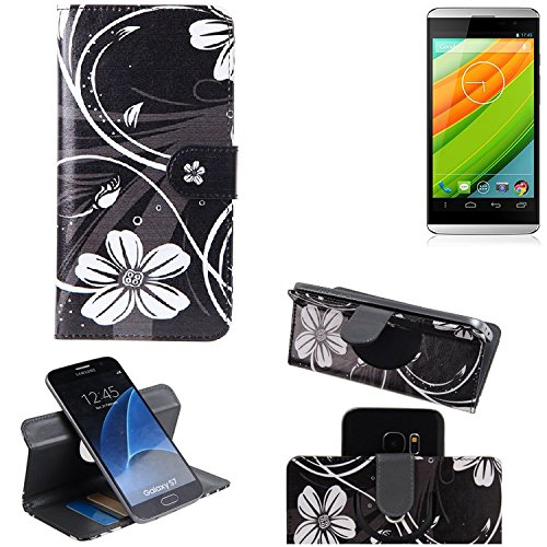 K-S-Trade Schutzhülle für Hisense HS-U980BE-2 Hülle 360° Wallet Case Schutz Hülle ''Flowers'' Smartphone Flip Cover Flipstyle Tasche Handyhülle schwarz-weiß 1x