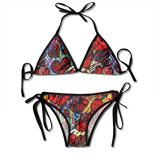 6d4f63c866bc8 Fashion Sexy Womens Hearts Pattern Printing Bikini Set Adjustable Bathing  Suits
