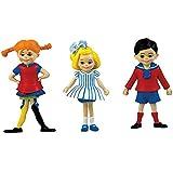 Micki Pippi Langstrumpf Figuren, Pippi, Tommy und Annika, 9 cm: für Puppenhaus Puppen Spielzeug Tom