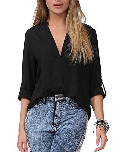 Donna Casuale Manica Lunga V-Collo Sciolto Bluse Camicie Shirt Tops Nero