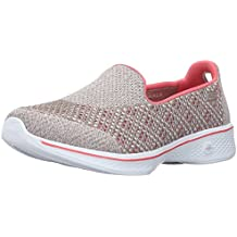 Skechers Go Walk 4-Kindle, Zapatillas para Mujer, Black / Heather/Pink
