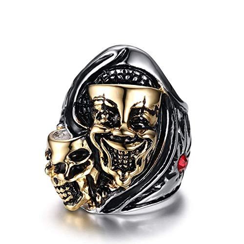 XMZBN Edelstahl Schmuck Weinlese gotische Schädel Clown Gravierte Biker Ring Punk Ritter Silber Gold