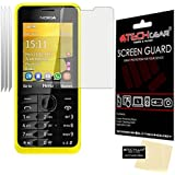 [Pack of 3] TECHGEAR® Nokia 301 CLEAR LCD Screen Protectors With Cleaning Cloth & Application Card