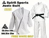Kimono de karate, de polialgodón de 255 g, color blanco, color blanco, tamaño 1/140 cm