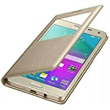 ELICA Leather Premium Flip Cover for Samsung Galaxy A9 Pro GOLD