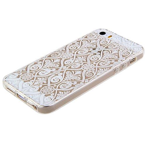 Kakashop iPhone 5C Silicone Etui Case Cover Transparent Crystal Clair Doux TPU, Rétro Fleur Peinture de Style Soft Gel Retour Housse Coque pour iPhone 5C(tournesol 2) style européen