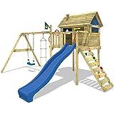 WICKEY Smart Plaza Parques infantiles Toboganes Columpios Cajón de arena azul Toboganes / azul techo