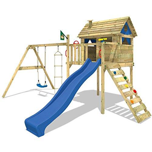 WICKEY-Stelzenhaus-Smart-Plaza-Baumhaus-Spielturm-mit-Rutsche-Spielhaus-und-Schaukel-blaue-Rutsche-blaue-Plane