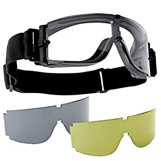 SPORTS GOGGLES SHOOTING SNOW MASK PROTECTION 3 LENSES FOR SOFTAIR SOFT AIR ROYAL BLACK YH033