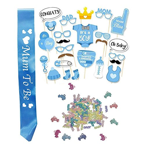 Baby Shower Foto Requisiten Dekorationen Party Pack Banner, Mum to Be Party Satin Dekoration, Babyflasche Masken Foto Requisiten, Konfetti Unisex Boy(Blau)