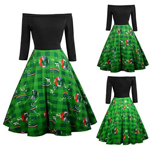 One-Shoulder-Schulter Klee Print Retro großes Kleid grün XXL, Malloom Frauen St. Patrick's Day Langarm aus Schulter Clover Print Vintage Swing ()
