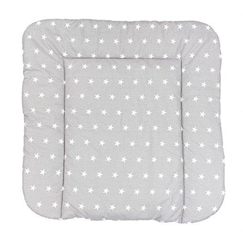 TupTam Baby Wickeltischauflage mit Baumwollbezug Gemustert, Farbe: Sterne Grau, Größe: 70 x 70 cm -