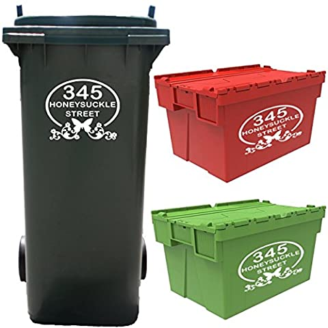 4 Large Personalised Wheelie Bin Number Stickers with house number and street name Vinyl Waste Container Decals – LARGE 19x14cm Cut Vinyl Bin Decals - NOT Small A6 Printed