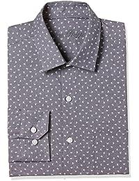 Louis Philippe Men's Printed Slim Fit Cotton Formal Shirt