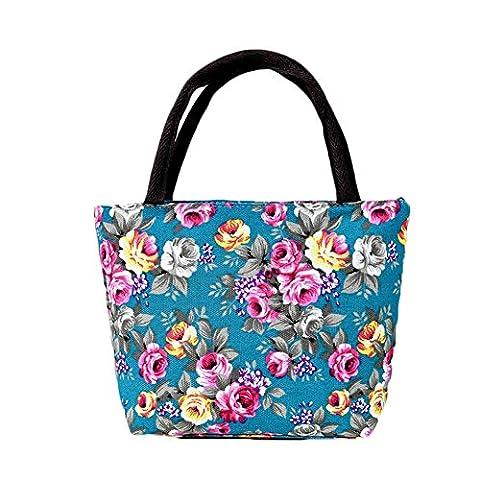 Espeedy Simple Moda Mujer Messenger Bolsas Lienzo Flores Impreso Zipped Girls Bolso Bolsa De Hombro De Las Señoras Gran Capacidad