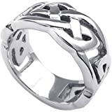 Konov Jewellery Mens Womens Stainless Steel Ring, Classic Celtic Knot, 10mm Band, Color Silver (with Gift Bag)