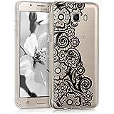 Hülle für Samsung Galaxy J5 (2016) DUOS - kwmobile Crystal Case Handy Schutzhülle TPU Silikon - Backcover Cover Klar Blütenmeer Spitze Design Schwarz Transparent