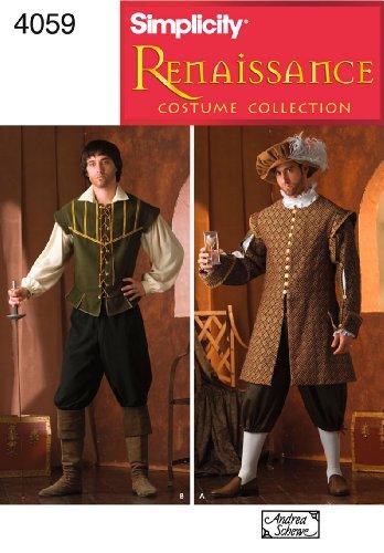 Simplicity Schnittmuster 4059EIN Herren Kostüme (Historisches Herren Kostüm Muster)