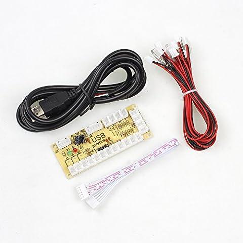 IGames Zéro Delai USB Codeur Pour Jeu PC Contrôleurs pour Arcade Sanwa Kits Pièces Mame Jamma & Other Jeu PC ( 5Pin Manette de jeu + Sanwa Style Bouton Poussoir)