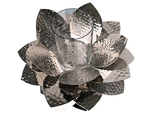 Garten Windlicht groß silber aus Aluminium rostfrei Metall Blüte silber für draussen mit Glas 30cm x 23cm von Gilde