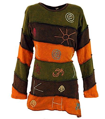 Langarmshirt Elfenshirt Patchwork / Pullover, Longsleeves & Sweatshirts Orange