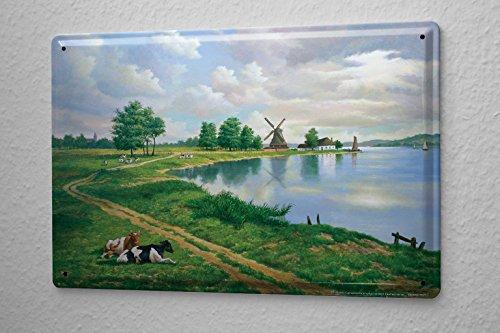 LEotiE SINCE 2004 Blechschild Urlaub Reisebüro Deko Kühe Windmühle Weide 20X30 cm
