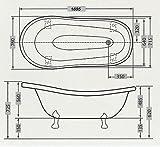 Freistehende Luxus Badewanne Jugendstil Mediterran Weiß/Schmiedeeisen 1690mm – Antik Stil Badezimmer – Retro Antik Badewanne - 5