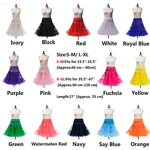 Reifrock Vintage Retro Petticoat Wedding Rockabilly Kleid,Königsblau,S-M (Nylon Petticoats)