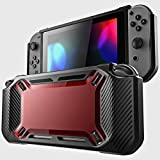 EDTara Back Housing Shell Case Cover for Nintend Switch Console Wear-Resisting Protection Case for NS Switch Black + red