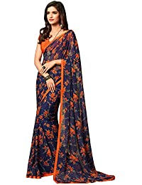 Roop Kashish Blue Georgette Floral Printed Saree With Border And Blouse_RKRU2504A