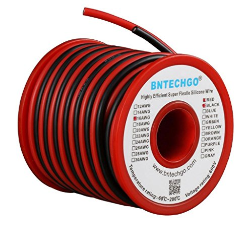 BNTECHGO 16 Gauge Silicone Wire Spool 50 feet Ultra Flexible High Temp 200 deg C 600V 16 AWG Silicone Wire 252 Strands of Tinned Copper Wire 25 ft Black and 25 ft Red Stranded Wire for Model Battery -