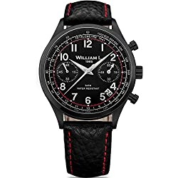 Ysora - Steel Mens Watch Chrono Black Leather Strap Red Stitching William L. wlib01nrbnsr - 4 cm