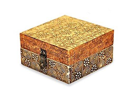 Holzbox Holzkiste im indischen Stil, 11 x 11 x 6 cm aus Holz mit Klappdeckel und Verzierungen aus Messing und Kupfer, Schatztruhe Schatzkiste für Schmuck und kleine Geheimnisse