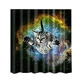 MagiDeal Duschvorhang Bad Polyester Stoff Badzimmer Dekor mit 12 Haken Set - Katze, 180x 180cm