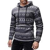 Viviboys Männer Casual Ethnische Gedruckt Herbst Winter Pullover Top Lange Ärmel Warme Tasche Fit Sweatshirtnew Gray XXL