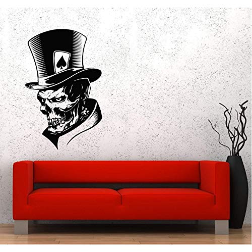 floolter Wandaufkleber Schädel Halloween Tod Teufel Clown Skelett Schädel Karte Peak Angst Monster Hut Vinyl Aufkleber Spiel Liebhaber Teen Boy Schlafzimmer Wohnkultur Wandaufkleber 57x90cm
