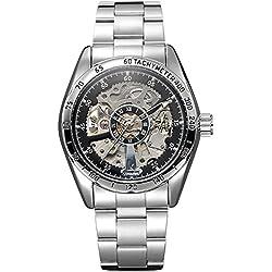Alienwork IK Automatic Watch Self-winding Skeleton Mechanical Stainless Steel black silver 98176G-01
