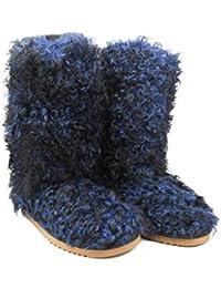 ae5ad9833391 PEGIA Yeti Style Flat Boots with Woolmark Warm Winter Fluffy Wool Dark Blue