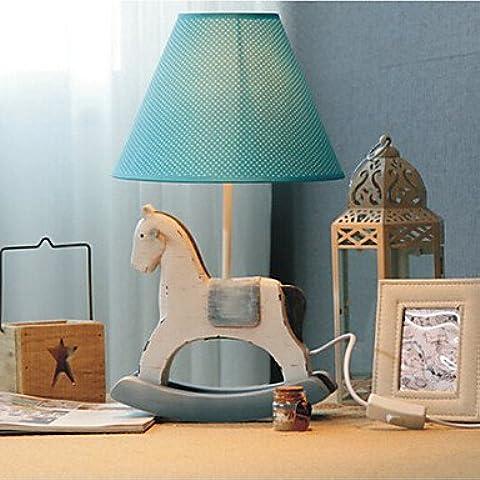 Piteng™ Lampada a forma di cavallo di battaglia con paralume in tessuto , 220V-Blue - Tessuto Cavallo