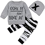 Xinantime 3PC/SET Camisetas de manga larga + Pantalones + Sombrero para Bebé Niños Otoño Invierno Ropa 0-2T (24 Meses, Gris)