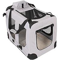 Transportbox faltbar inklusive Polster Hundebox Autobox Katzen in verschiedenen Farben & Größen (M, Grau)