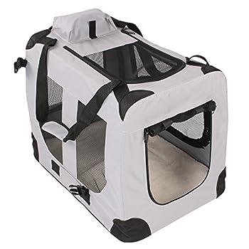 TRESKO® Boîte de transport pliable pour chiens, chats, chiots, animaux domestique, Sac de transport de voiture, pliable, diverses couleurs et tailles au choix Gris L 70 x 51 x 51 cm